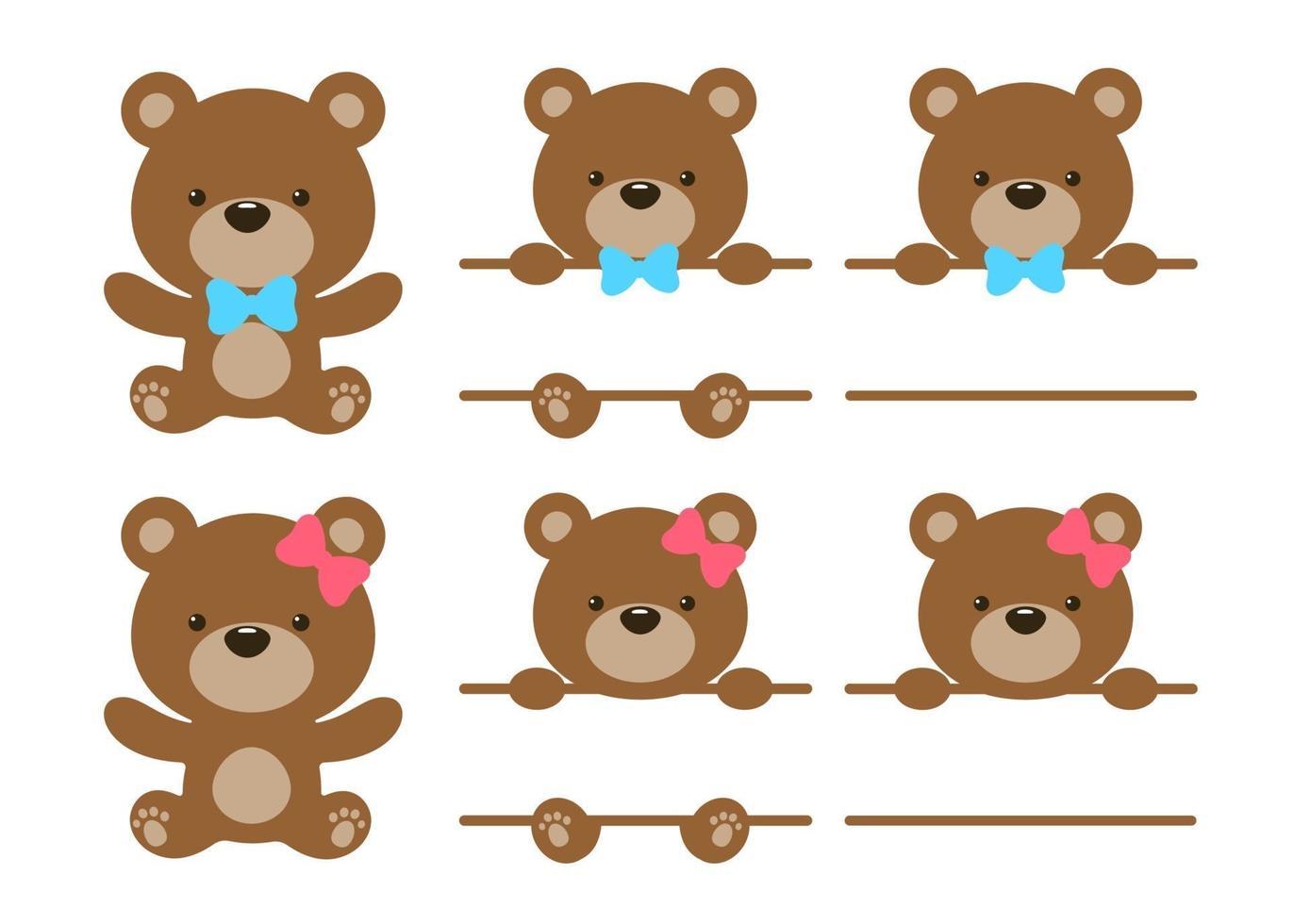vector teddybeer set