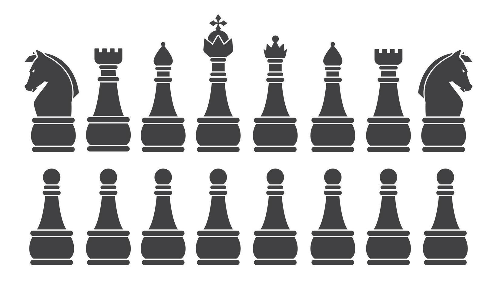 zwart schaakspel silhouet vector