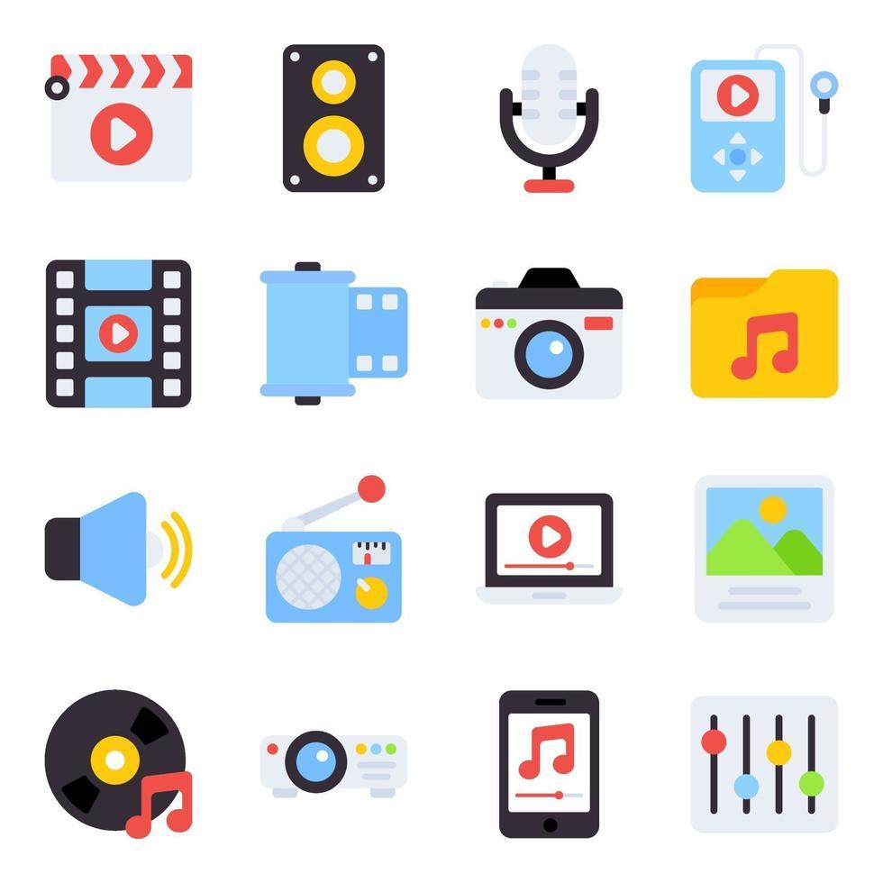 pack van muziek plat pictogrammen vector