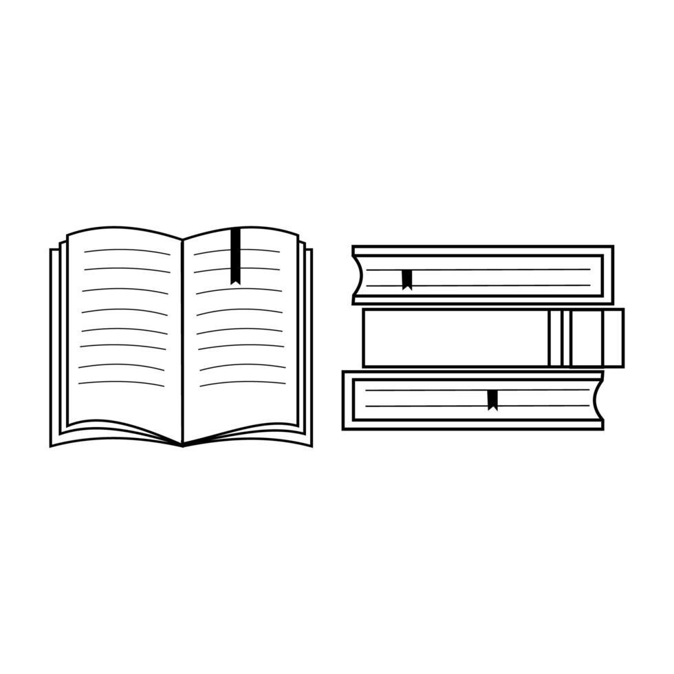 een set boeken en een open boek is gemaakt met een zwarte omtrek vector