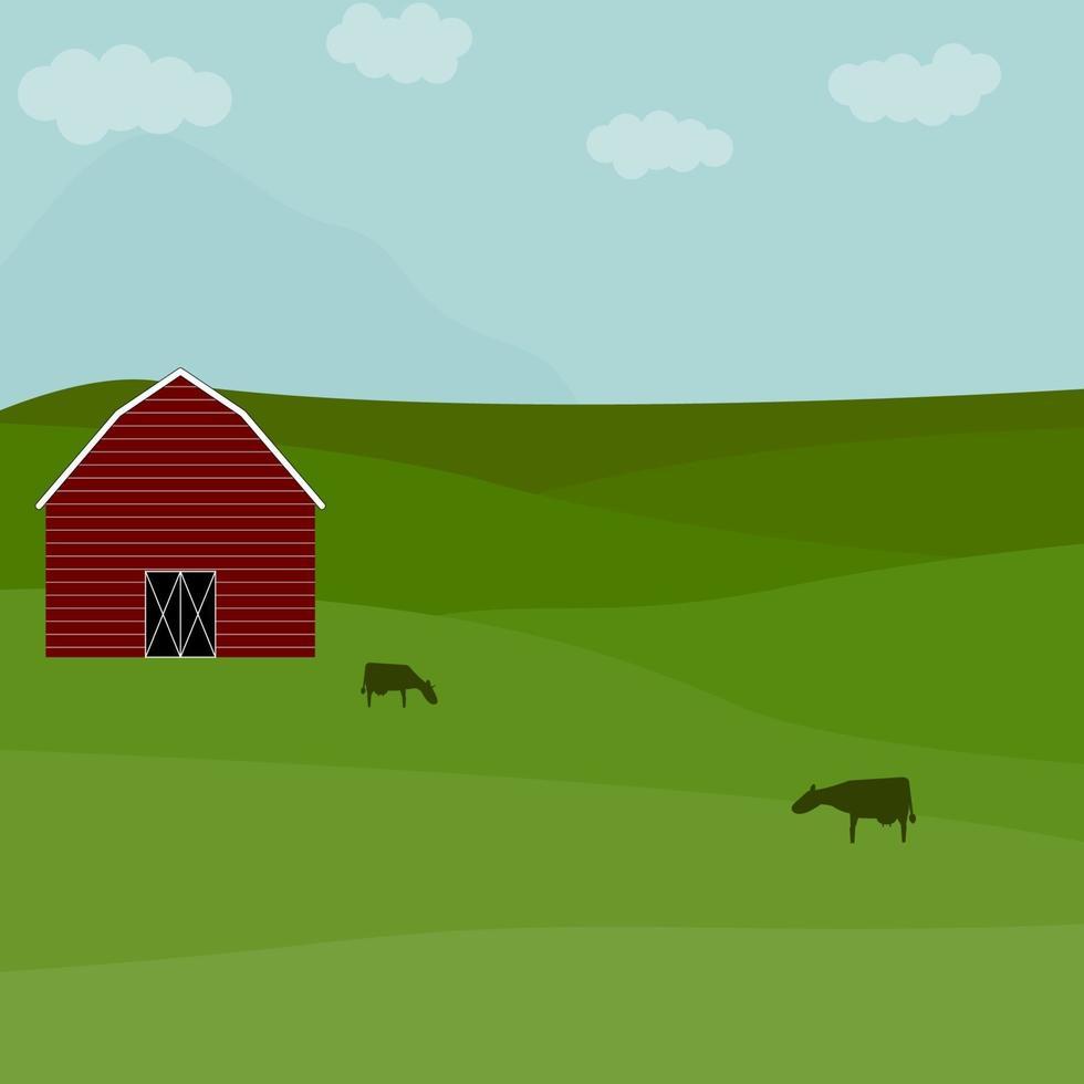 boerderijlandschap met schuur en koeien. landelijk gebied weide vector