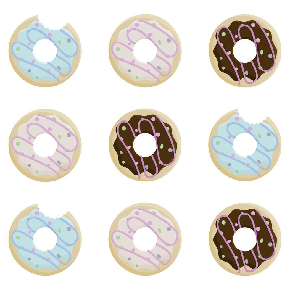 donut dag. set van gebeten donuts in suikerglazuur en beregening op witte achtergrond vector