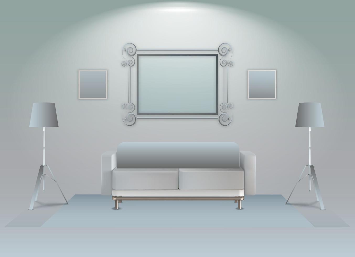 ilustration grafische vector van realistisch wandspiegel interieur
