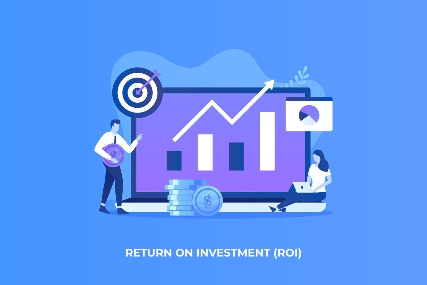 vlakke afbeelding van het concept van het rendement op investeringen vector