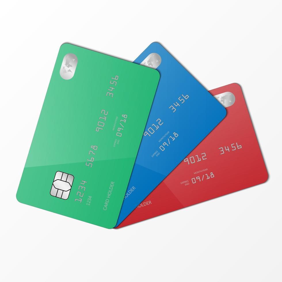 realistische groene, blauwe en rode creditcard mockup sjabloon, vectorillustratie vector