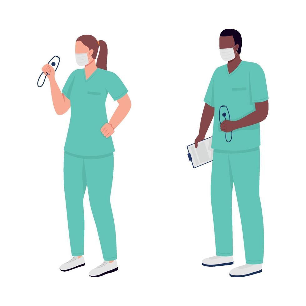 medische werkers egale kleur vector anonieme tekens