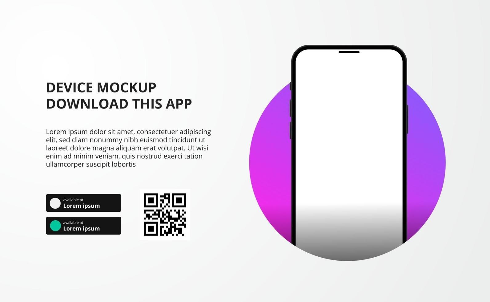 bannerreclame voor bestemmingspagina's voor het downloaden van app voor mobiele telefoon, mockup voor 3D-smartphoneapparaten. downloadknoppen met scan qr-codesjabloon. vector