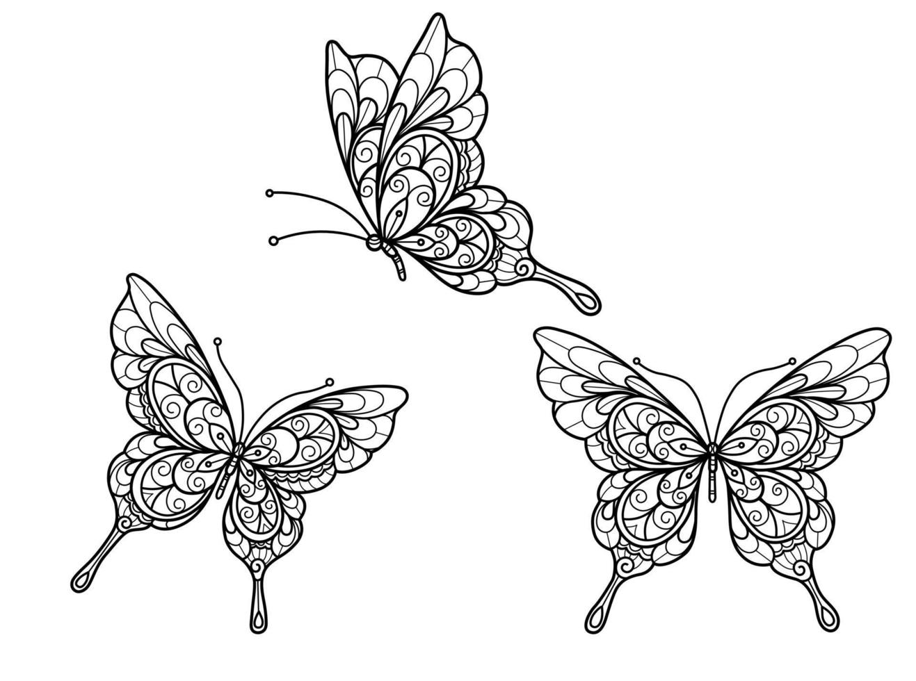 vlinder op witte achtergrond. hand getrokken schets voor volwassen kleurboek vector