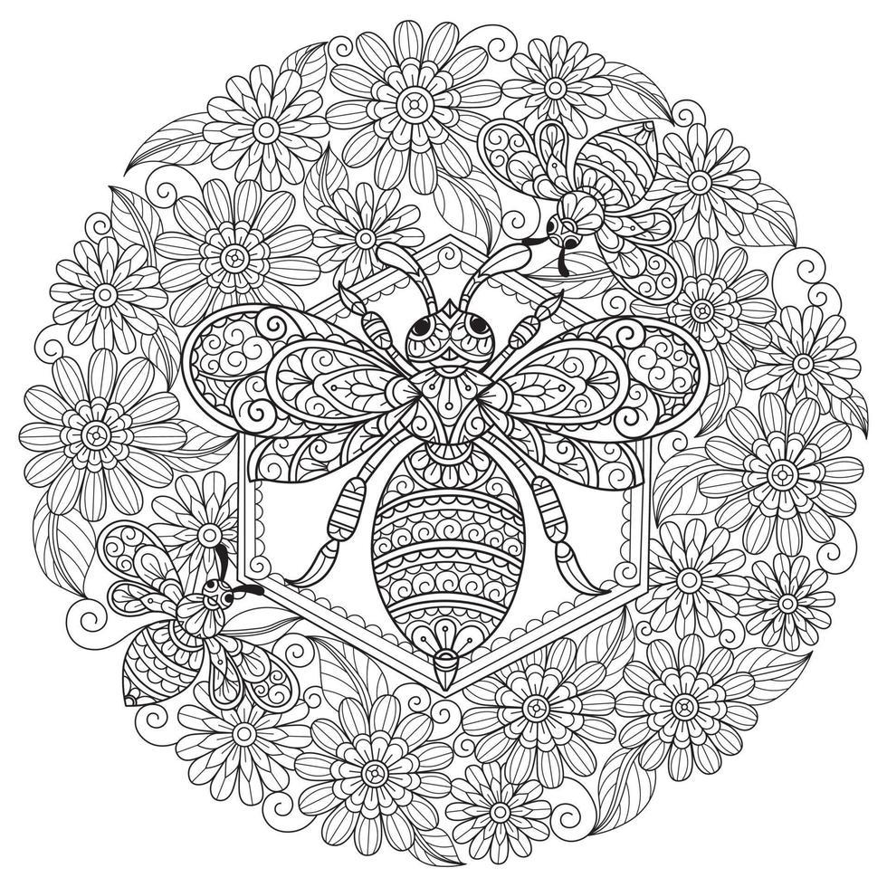 bijen en bloem op witte achtergrond. hand getrokken schets voor volwassen kleurboek vector