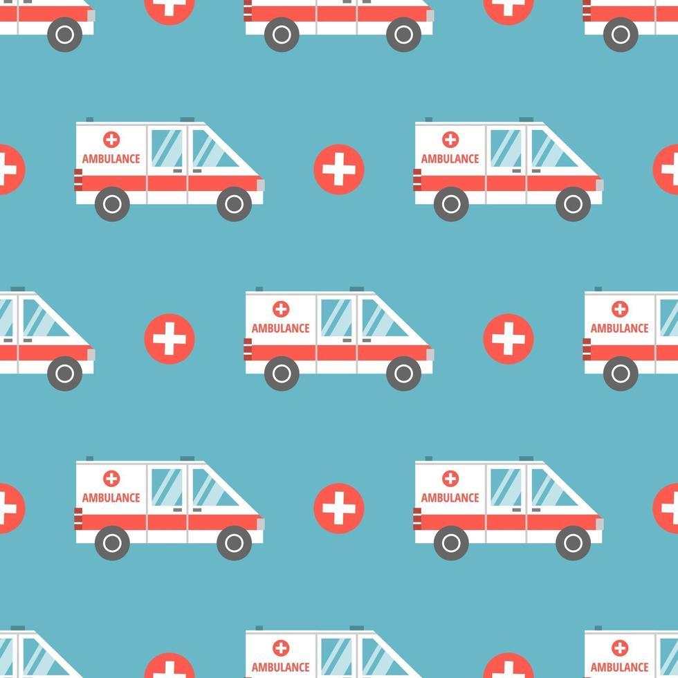 medische ambulance in platte cartoon-stijl. vector naadloze patroon