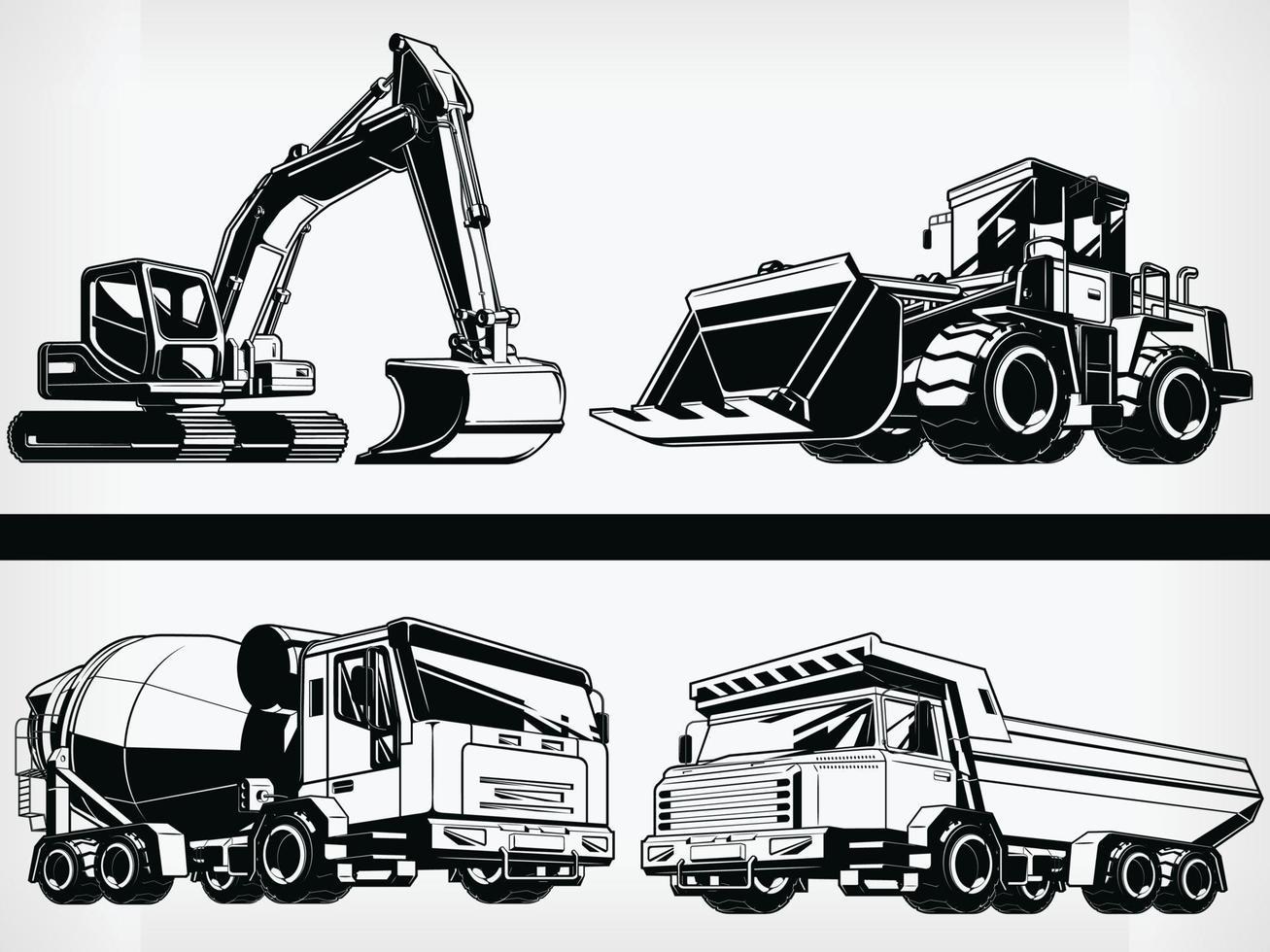 silhouet bouwmachine zwaar industrieel voertuig stencil vector