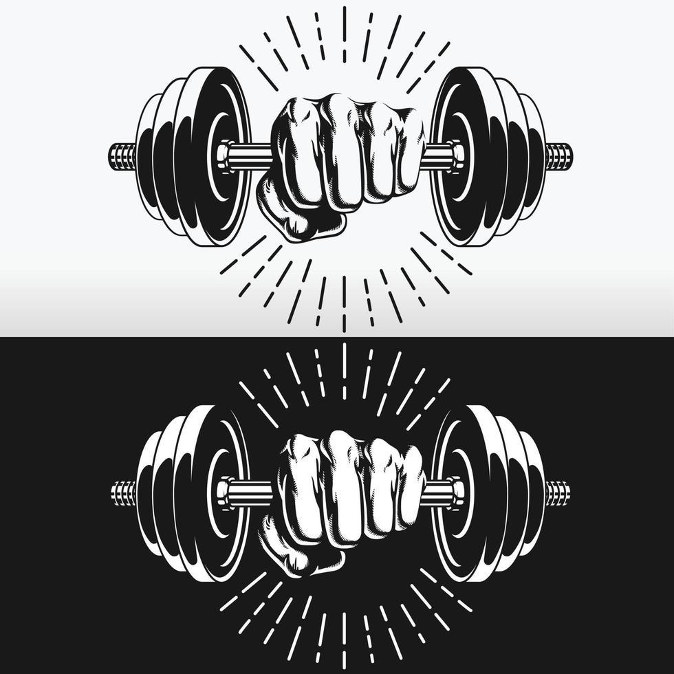 silhouet vuist aangrijpende bodybuilding halters stencil vector tekening