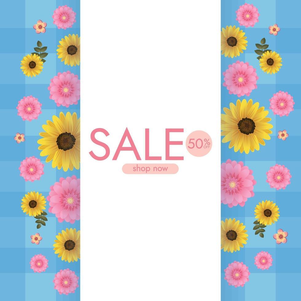 kleurrijke achtergrond met zonnebloemen en madeliefjebloemen. vector illustratie