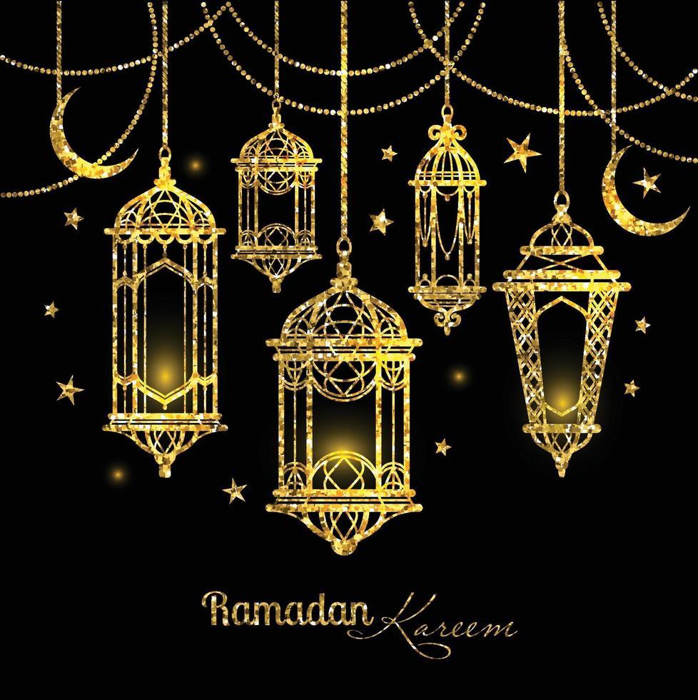 wenskaart ramadan kareem-ontwerp met lampen en manen. vector
