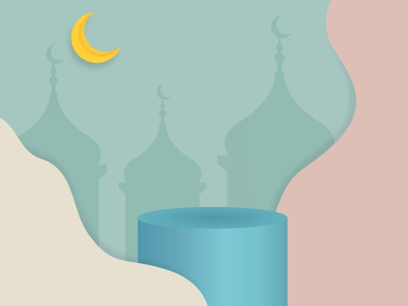 3D-vector podium voor productvertoning, presentatie, podium, islamitisch minimaal cilinderplatform op pastelkleurenachtergrond vector