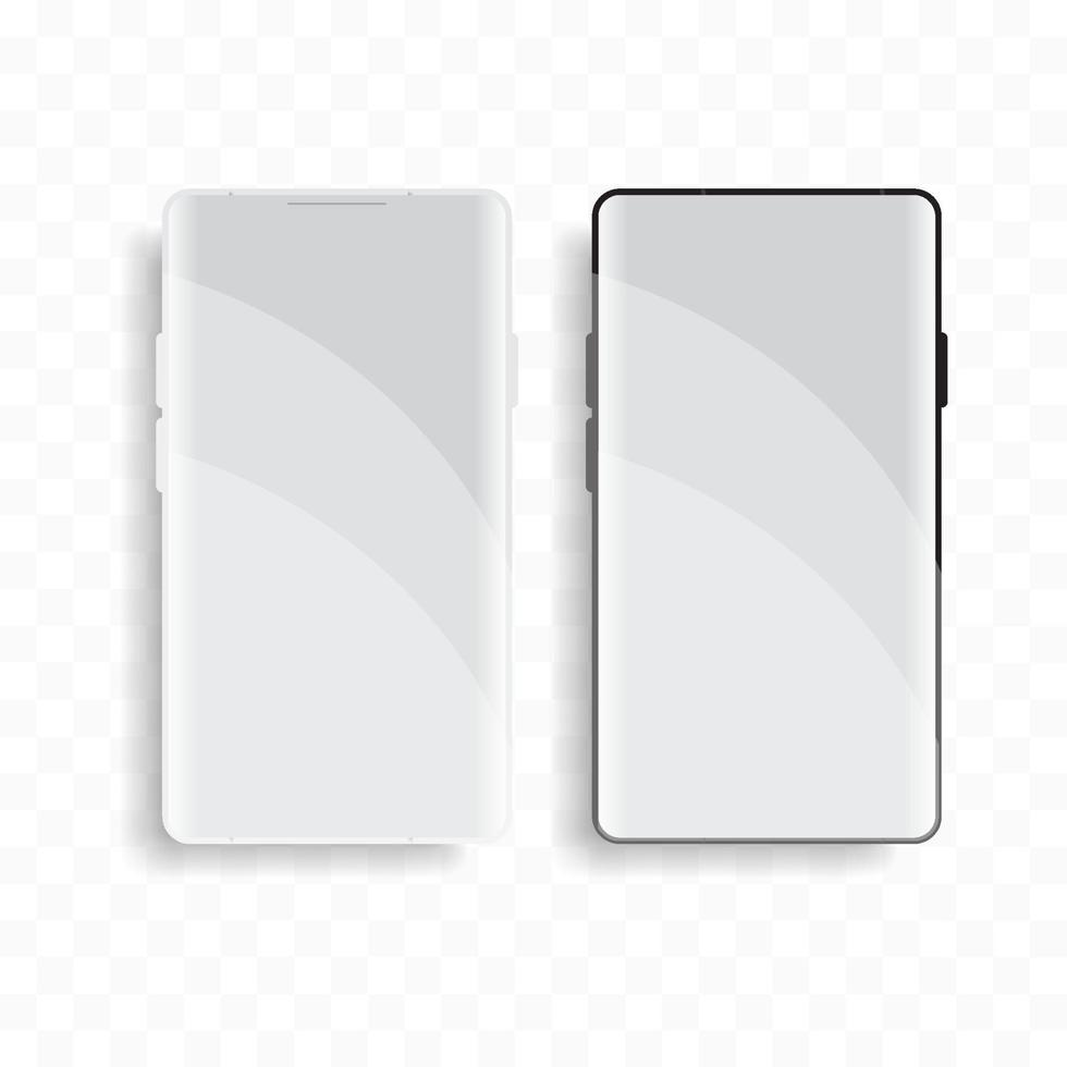 mockup mobiele telefoon met schoon voorbeeld. apparaat telefoon vooraanzicht schaduw op transparante achtergrond. vector