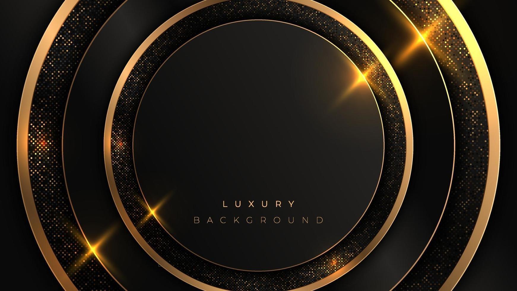 zwarte en gouden cirkel luxe achtergrond. rond glanzend gouden frame op ronde vorm. vector