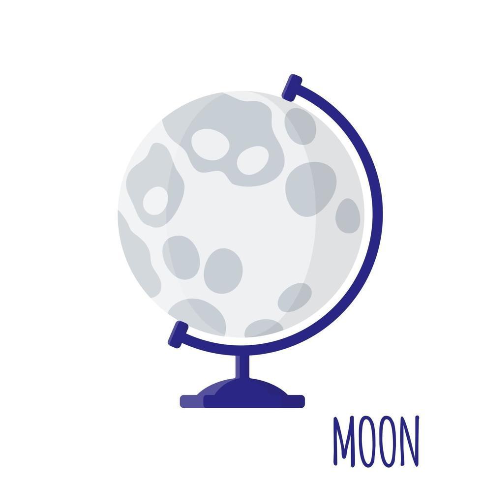 vector cartoon illustratie met desktop school maan globe geïsoleerd op een witte achtergrond.