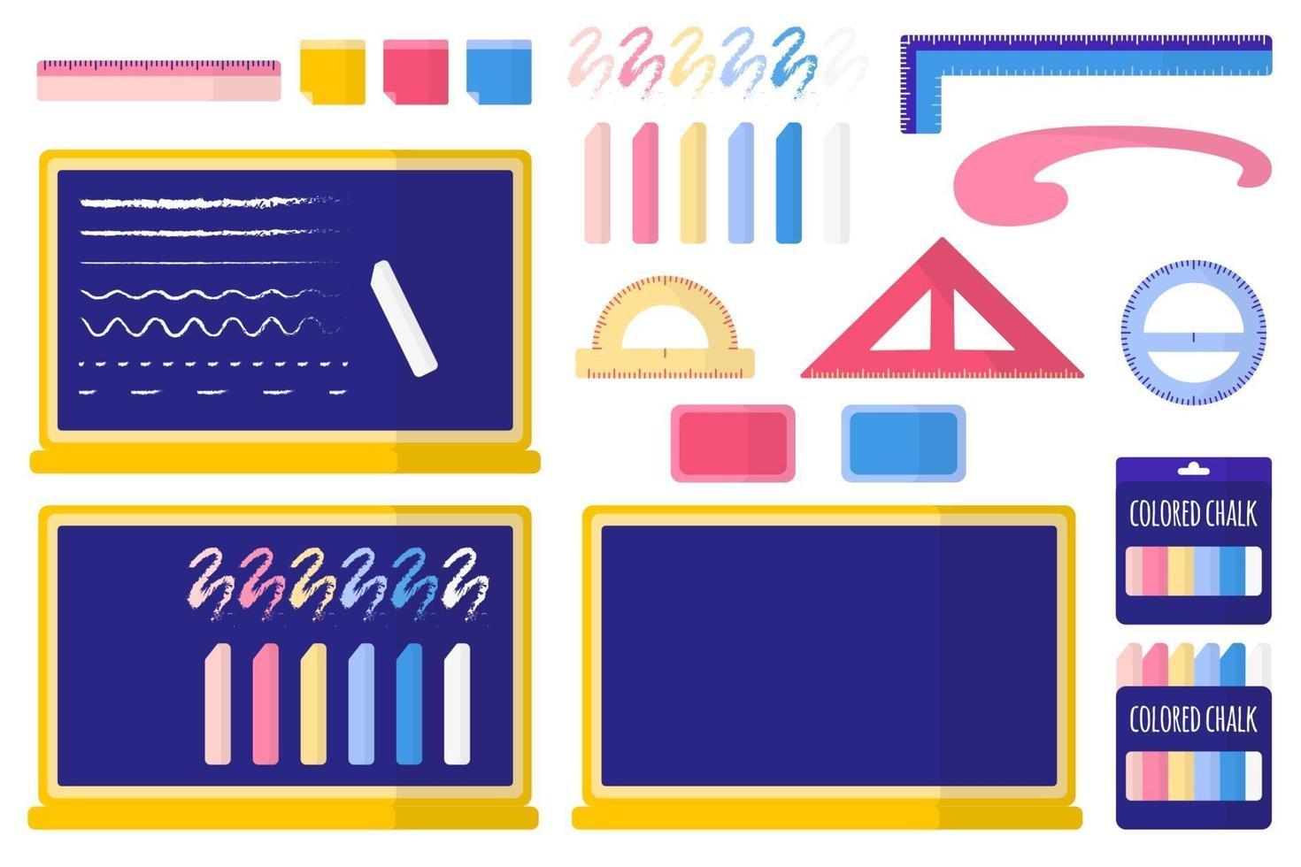 set van cartoon vectorillustraties met schoolbord, gekleurd krijt, spons, stickers, linialen op witte achtergrond. vector