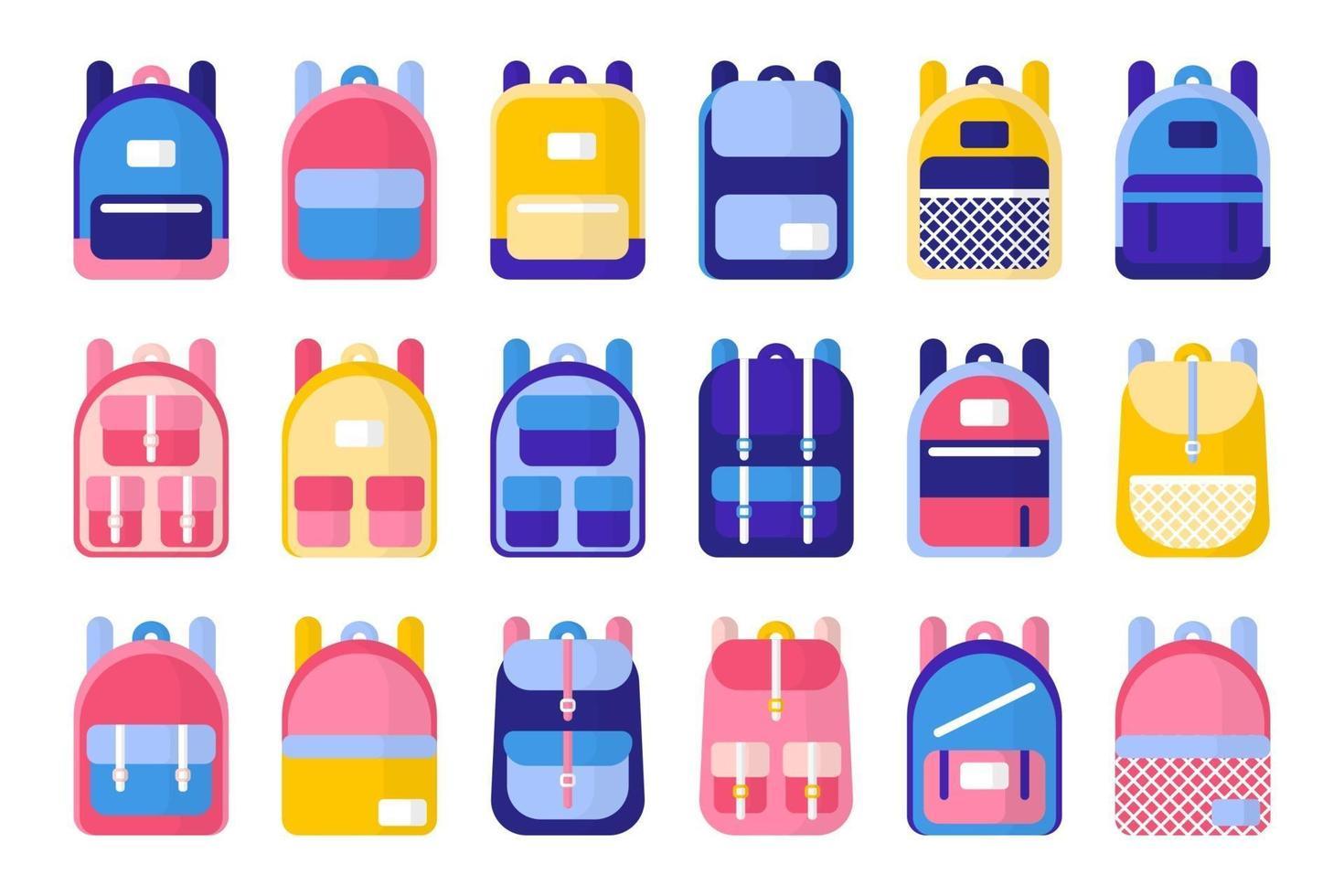 set van cartoon vectorillustraties met schooltassen en rugzakken op witte achtergrond vector