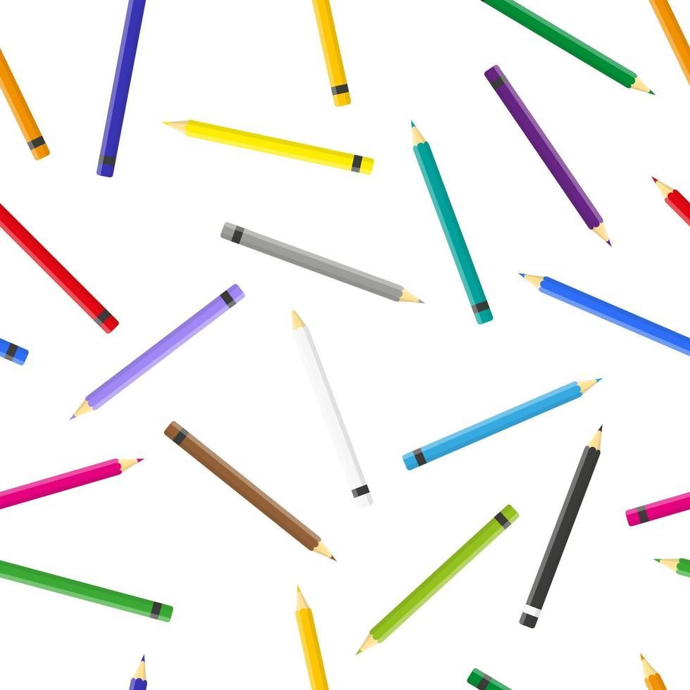 vector cartoon naadloze patroon met kleurpotloden op witte achtergrond voor web, print, doek textuur of behang.
