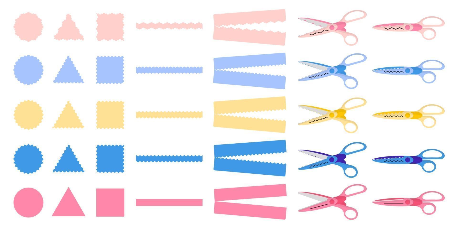 set van cartoon vectorillustraties met verschillende soorten decoratieve randschaar op witte achtergrond. vector