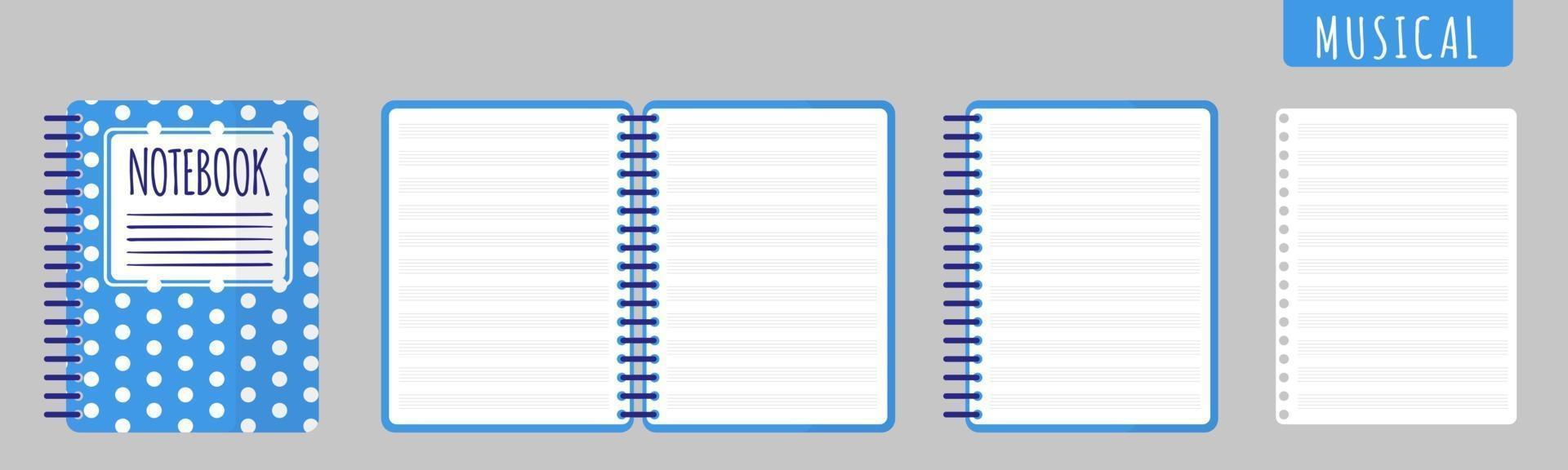 cartoon vectorillustratie met muzikale notebook, notitieblok openen en blanco vellen op witte achtergrond. vector