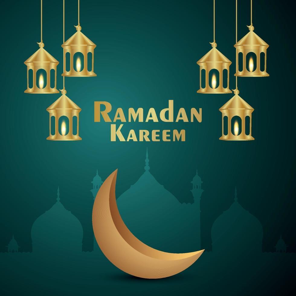 eid mubarak uitnodiging wenskaart met creatieve gouden lantaarn en maan vector