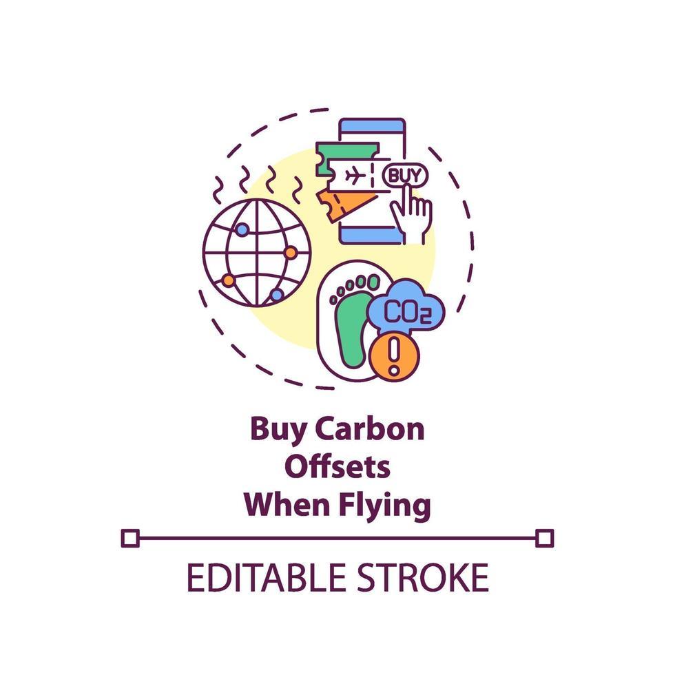 koop koolstofcompensaties bij het vliegen van conceptpictogram vector