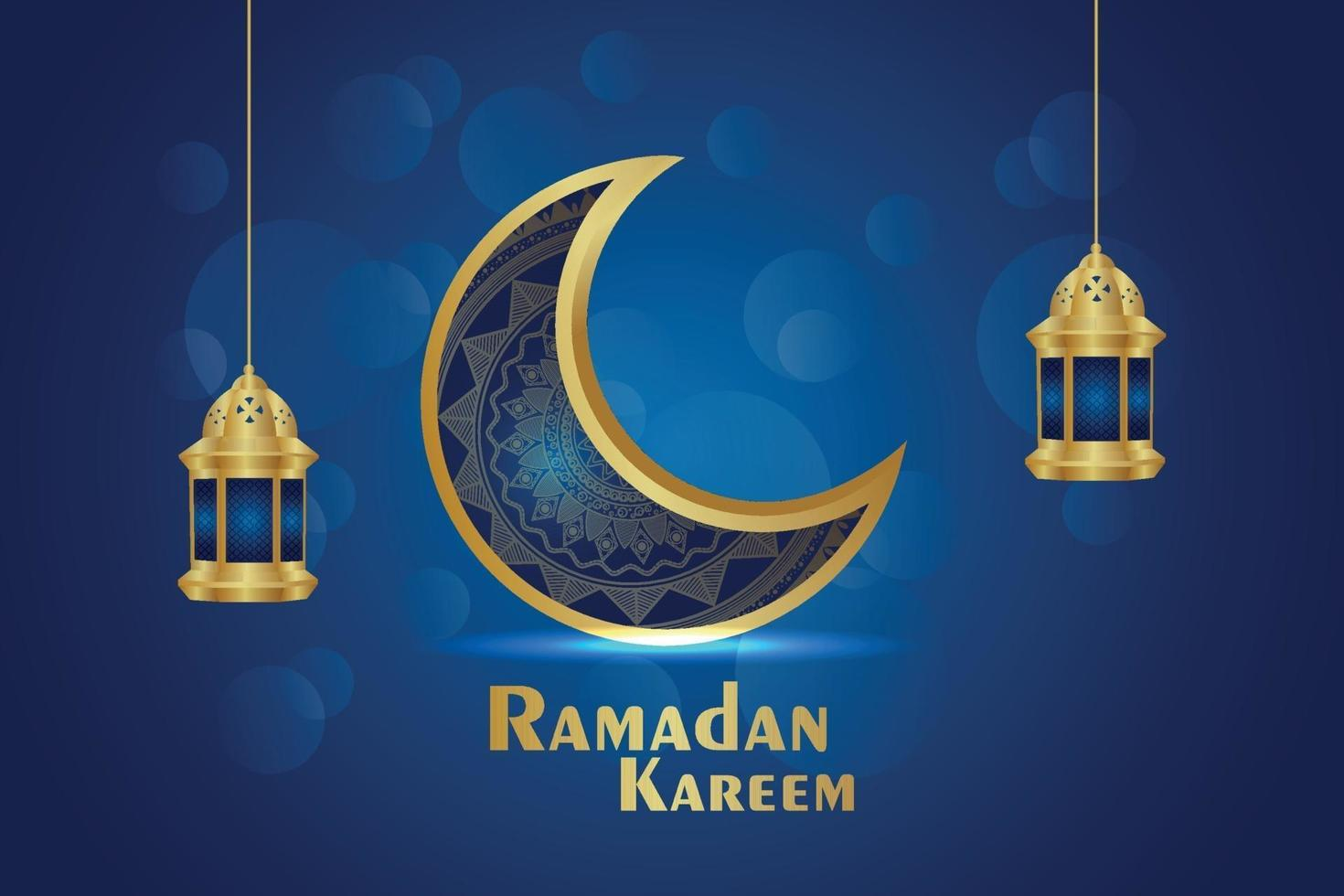 islamitische festival uitnodiging wenskaart van ramadan kareem met creatieve maan en lantaarn vector