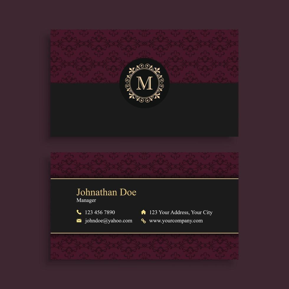 donkerrode elegante visitekaartjesjabloon vector