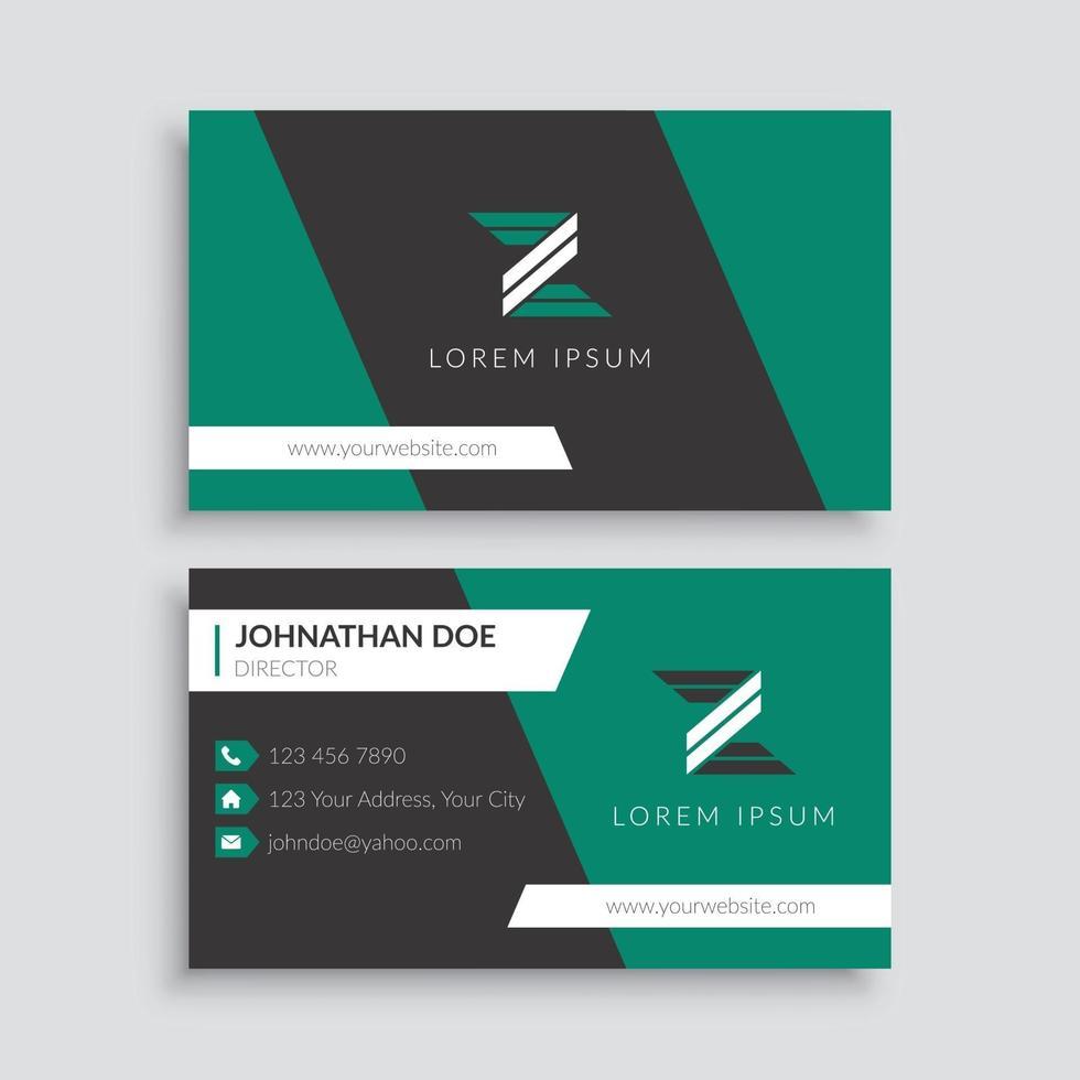 groene en zwarte zakelijke visitekaartjesjabloon vector