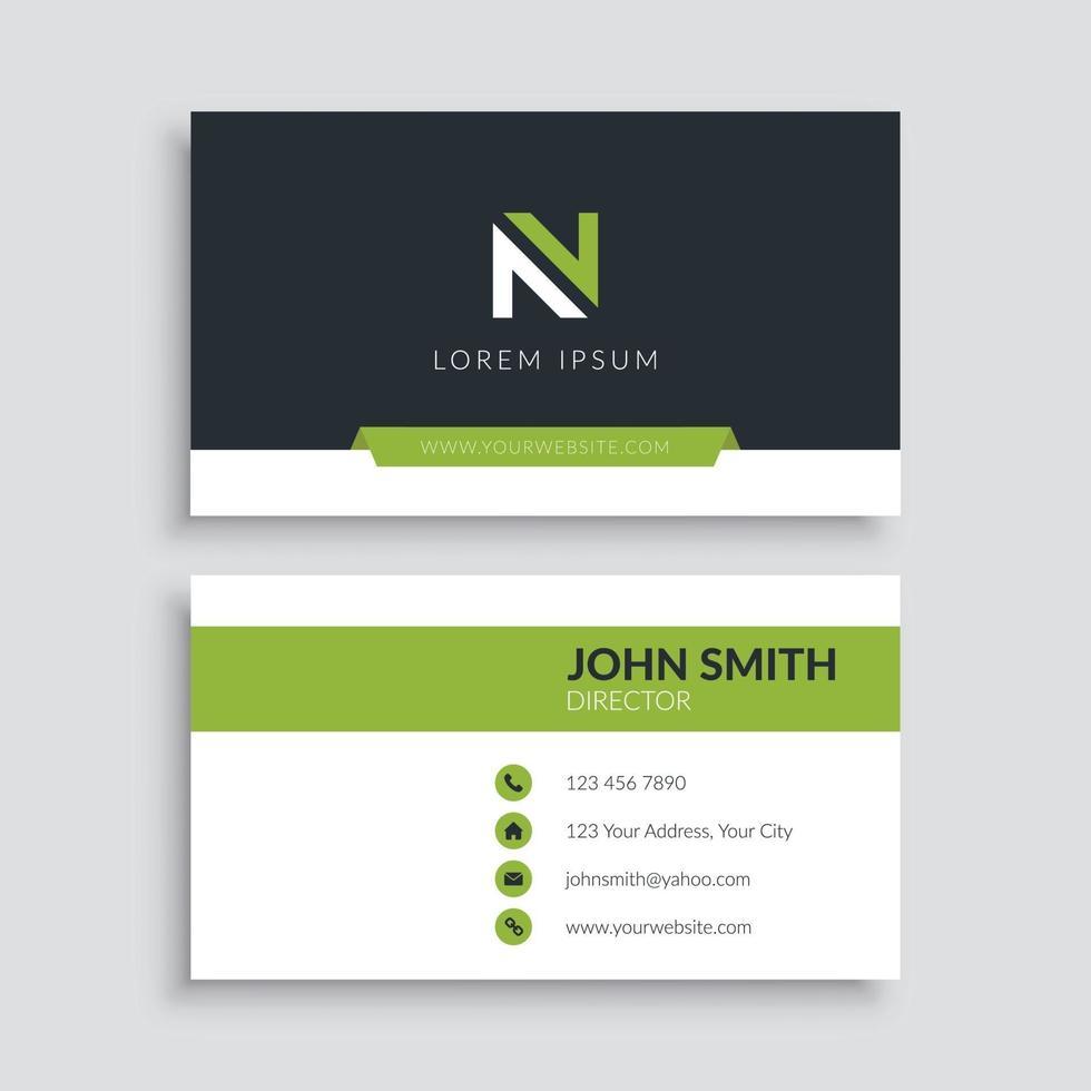 groene minimalistische sjabloon voor zakelijk visitekaartjes vector