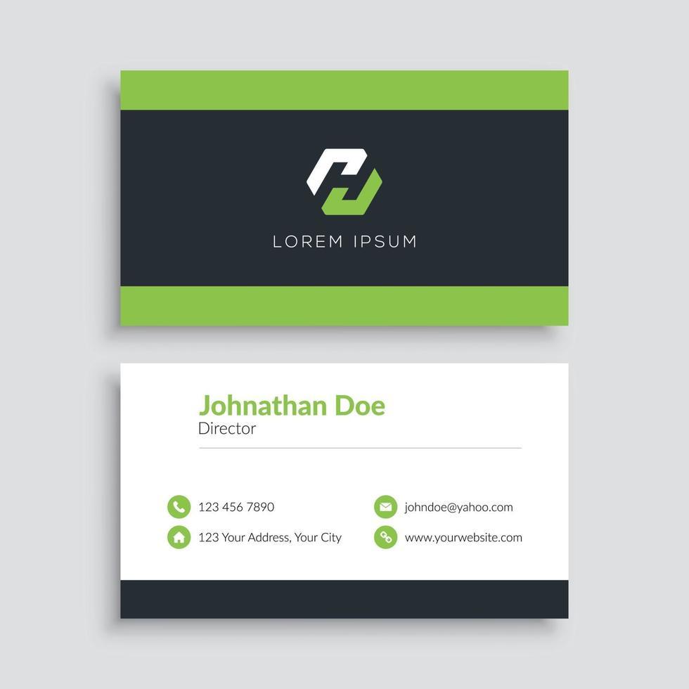 groene minimalistische visitekaartjesjabloon vector