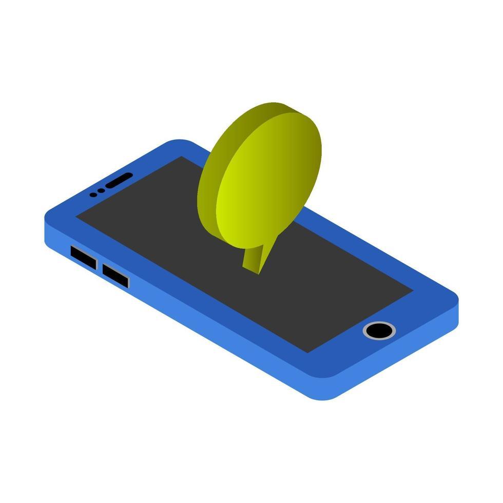isometrische dialoogwolk op smartphone vector