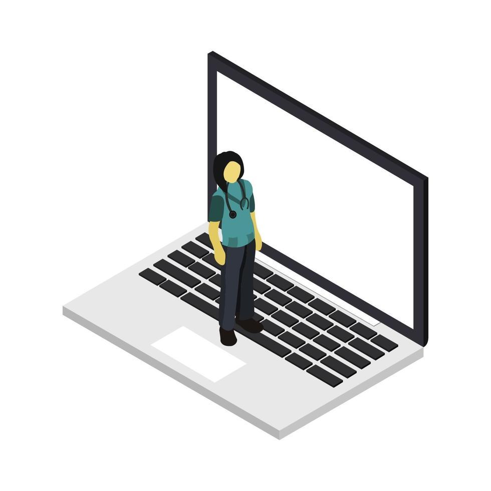 isometrische arts op laptop vector