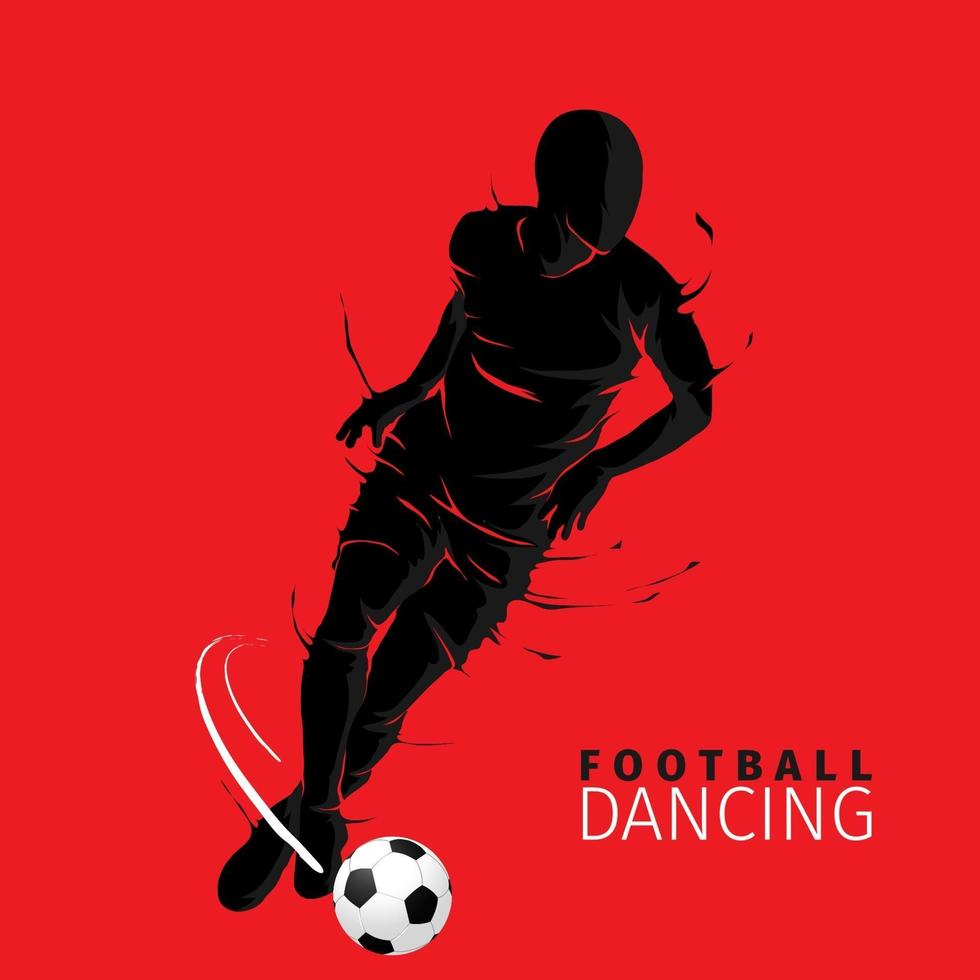 voetbal voetbal poseren donkere vlam silhouet vector