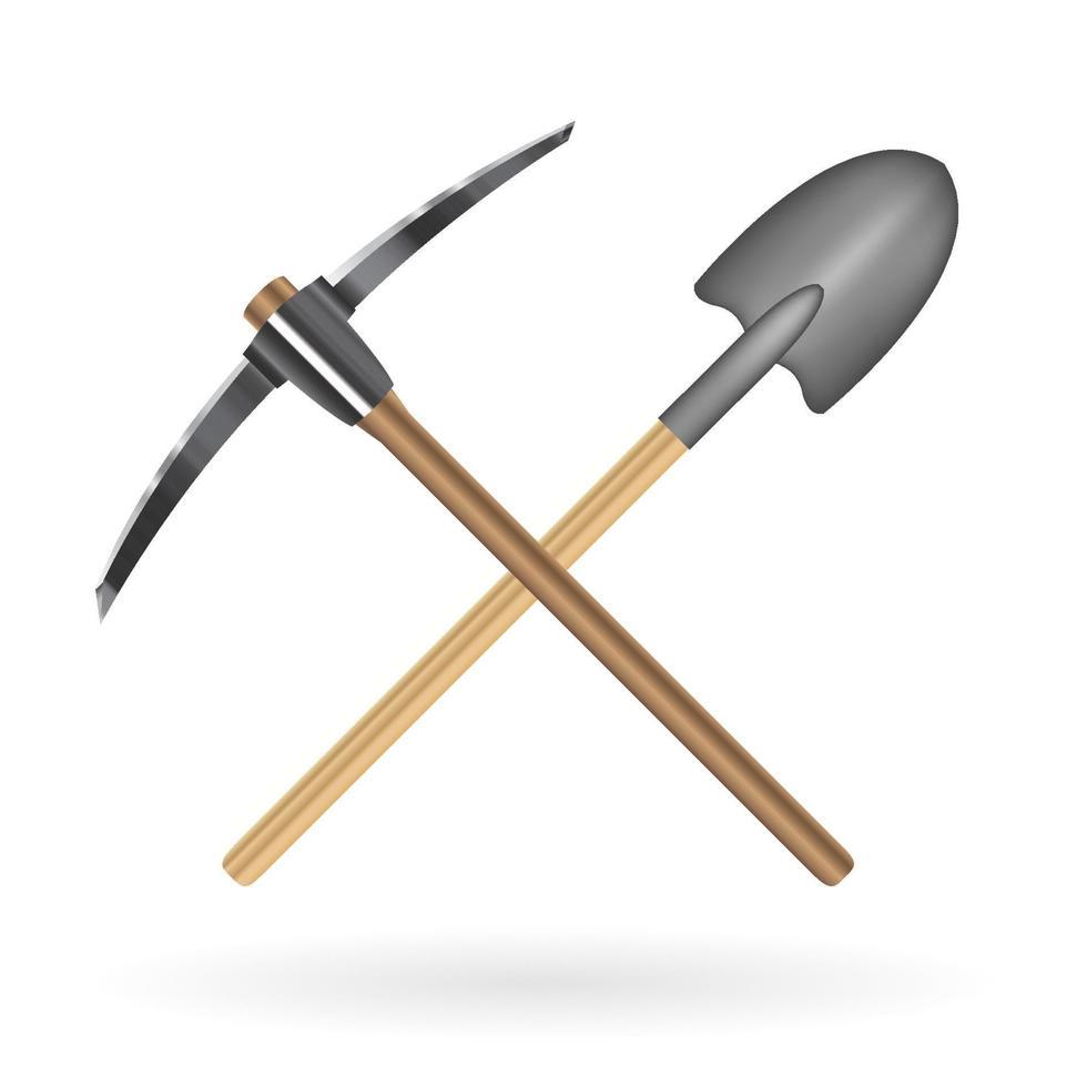 kruis schop en houweel logo op een witte achtergrond vector