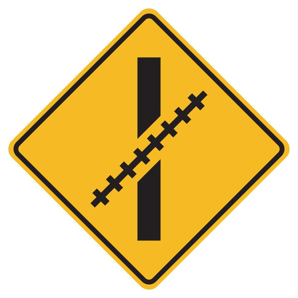 waarschuwingsborden spoorwegovergang in een schuine hoek op een witte achtergrond vector