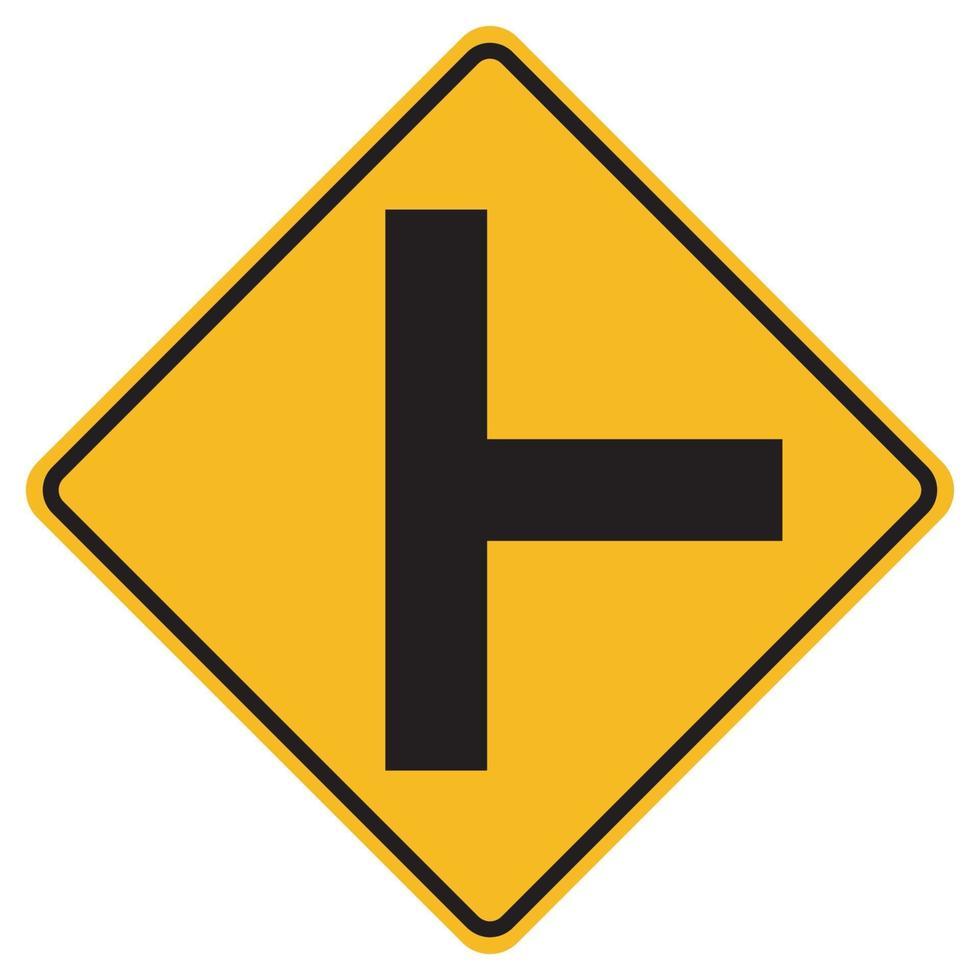 waarschuwingsborden zijweg kruising aan de rechterkant op een witte achtergrond vector