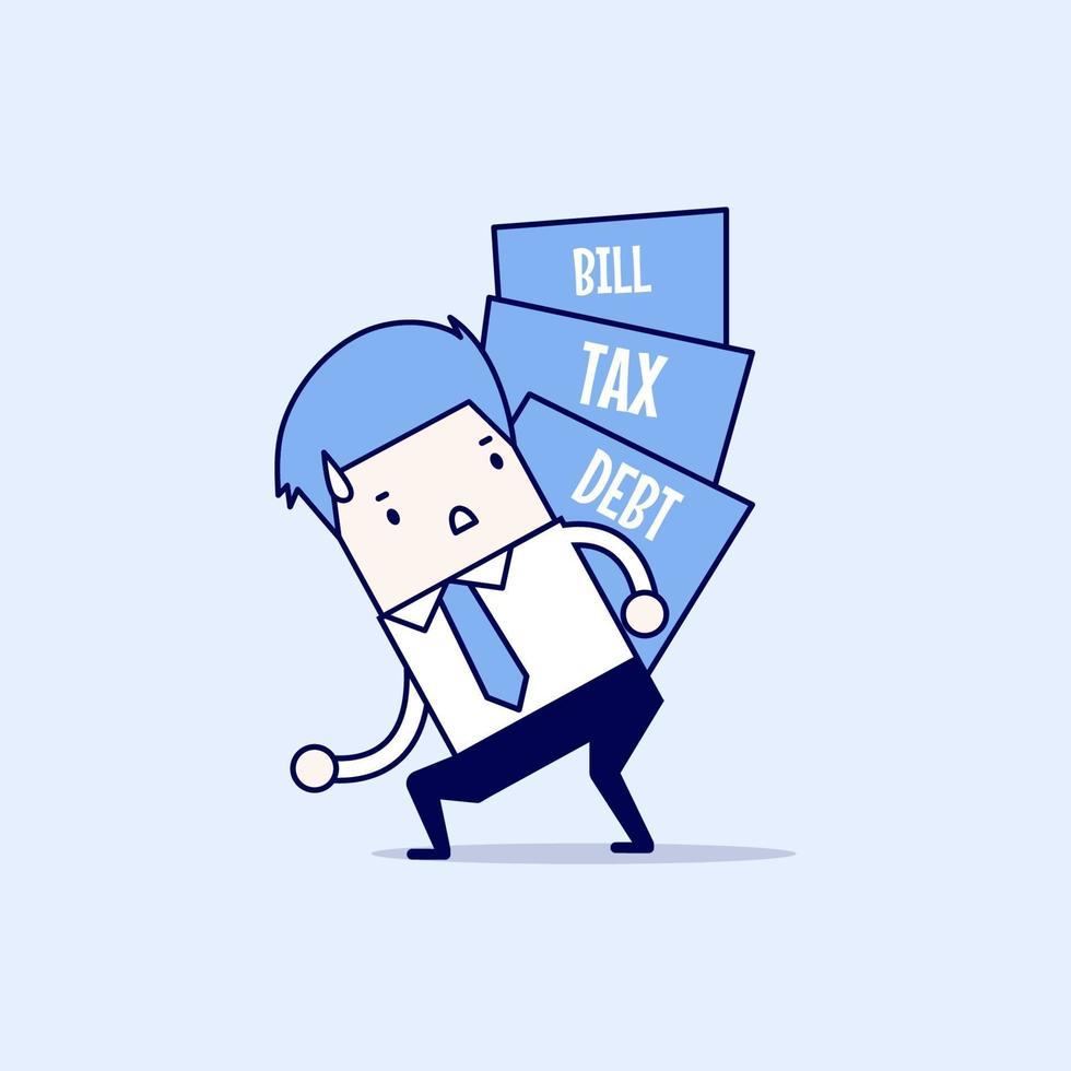 zakenman met een stapel schulden, belastingen en rekeningen. cartoon karakter dunne lijn stijl vector. vector
