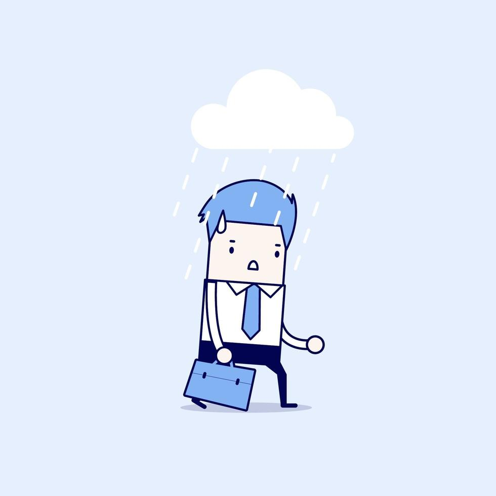 depressieve zakenman wandelen in de regen. cartoon karakter dunne lijn stijl vector. vector