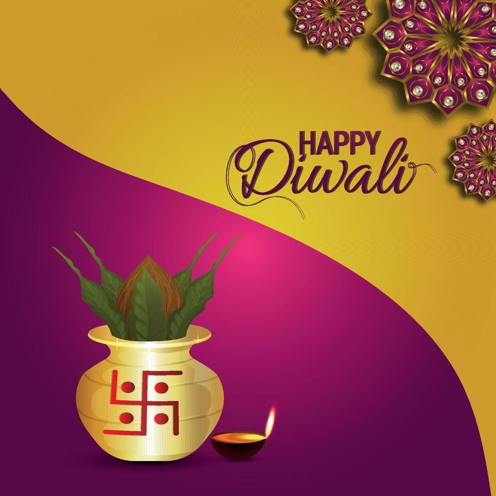 gelukkige diwali-viering wenskaart met creatieve vectorillustratie van diya vector