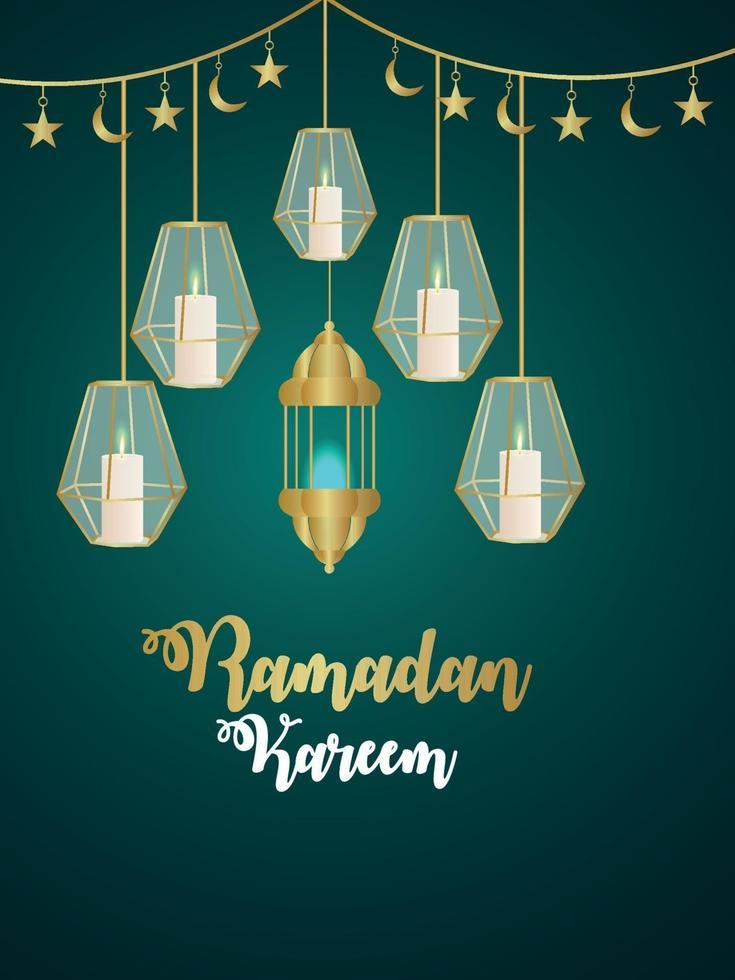 islamitische festival ramadan kareem partij achtergrond met creatieve lantaarn en maan vector