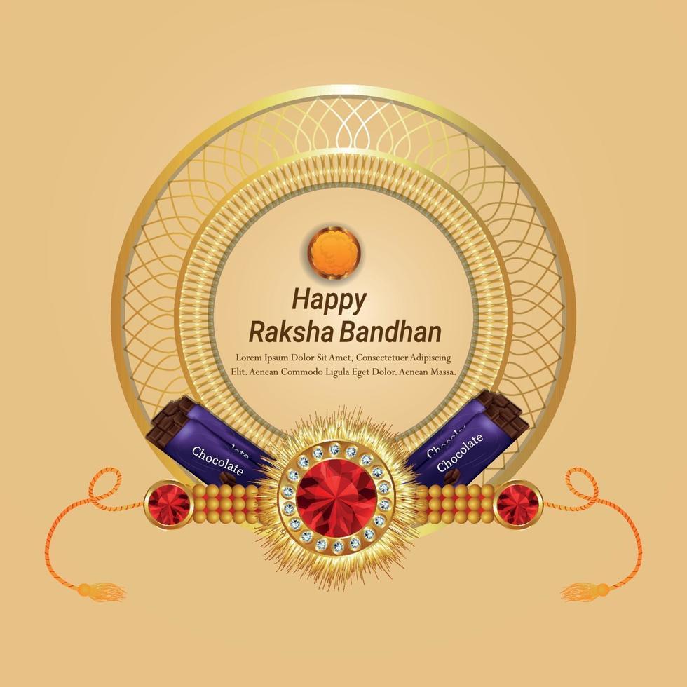 gelukkige raksha bandhan viering wenskaart met creatieve vectorillustratie en chocolaatjes vector