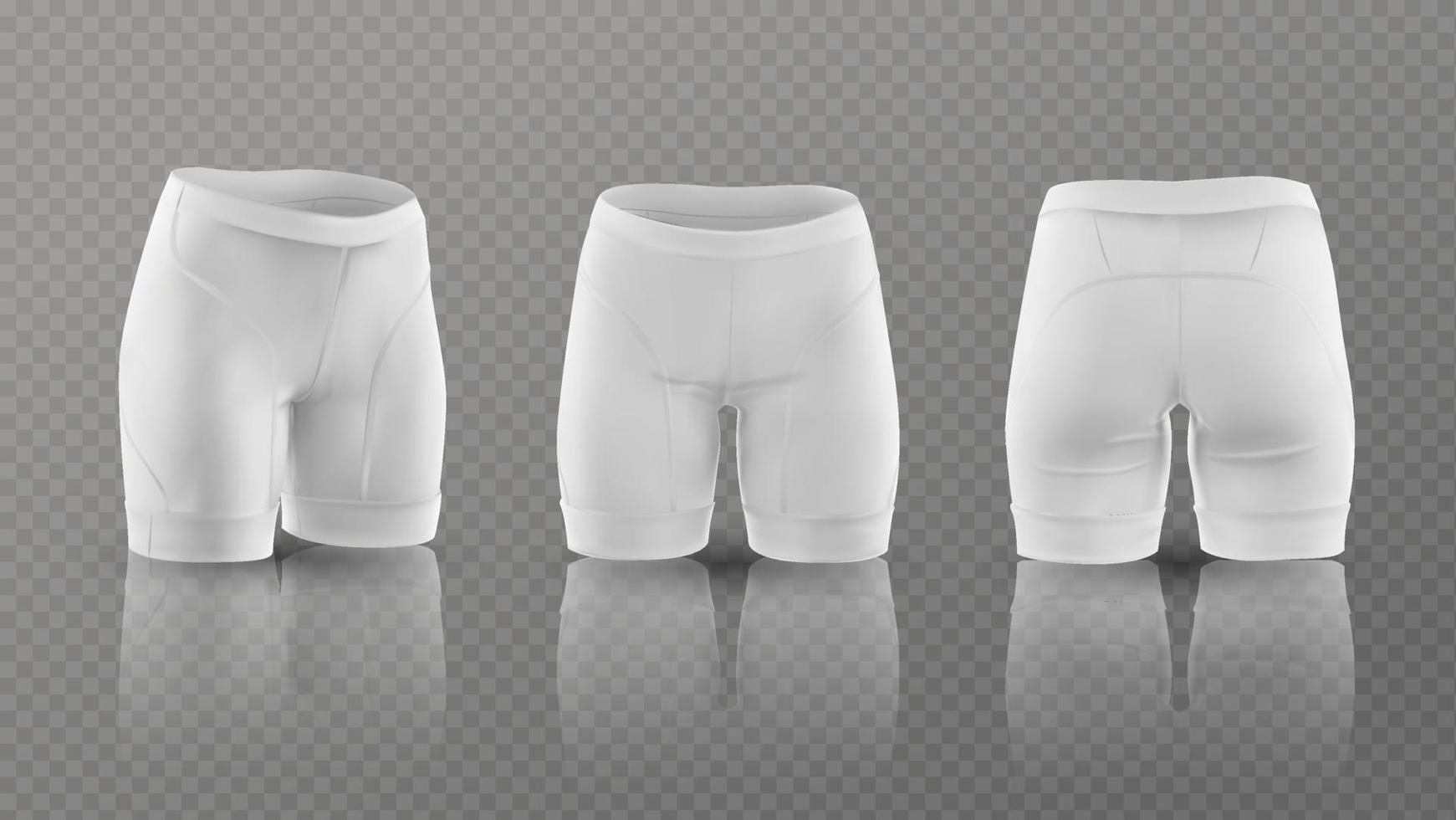 mockup voor damesfietsbroeken in verschillende posities. vector illustratie