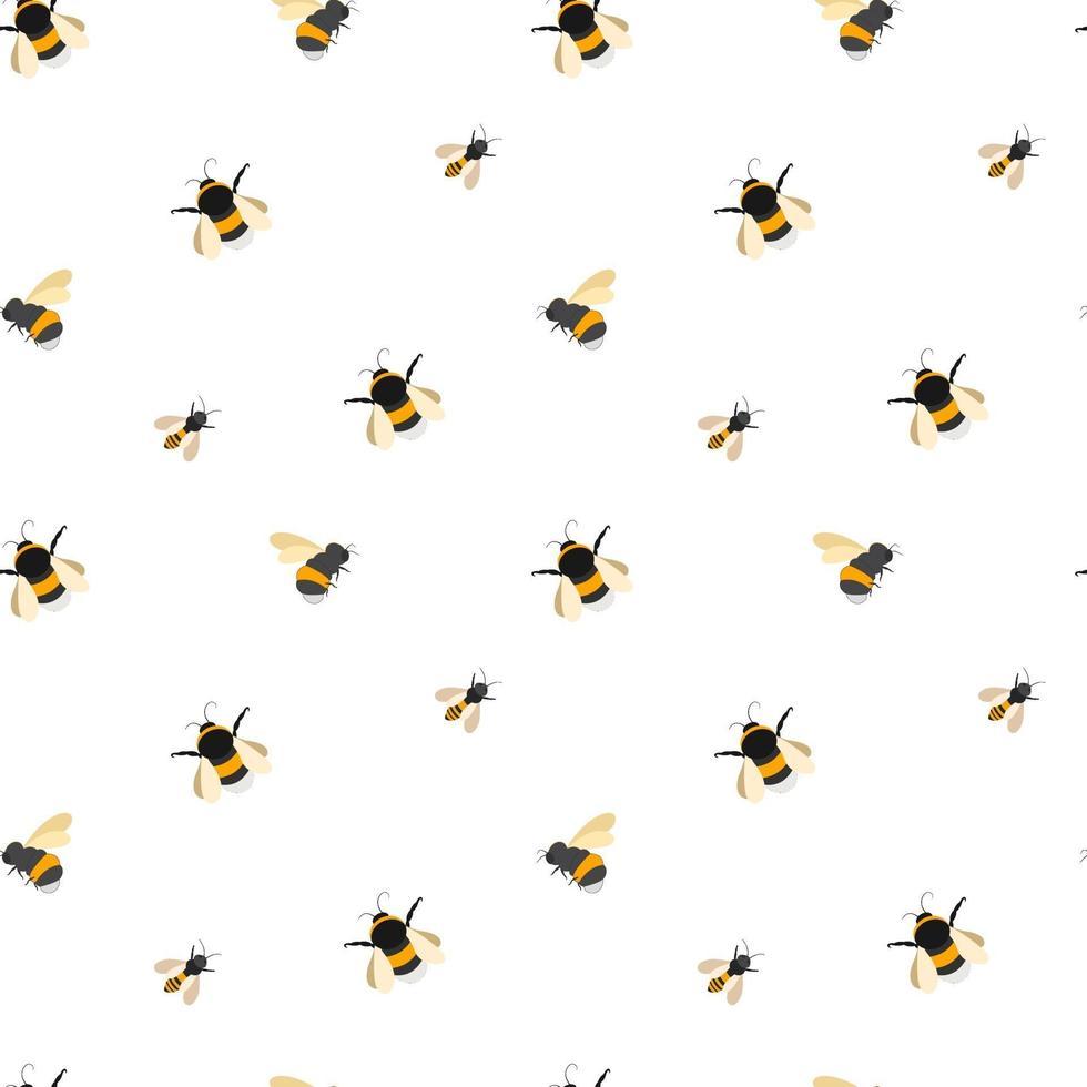 vector naadloze patroon van hommels, bijen en wespen. statisch ornament van gestreepte insecten.