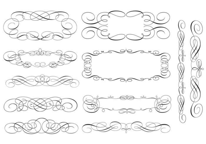 Swirly Scroll Frame en Border Vector Pack