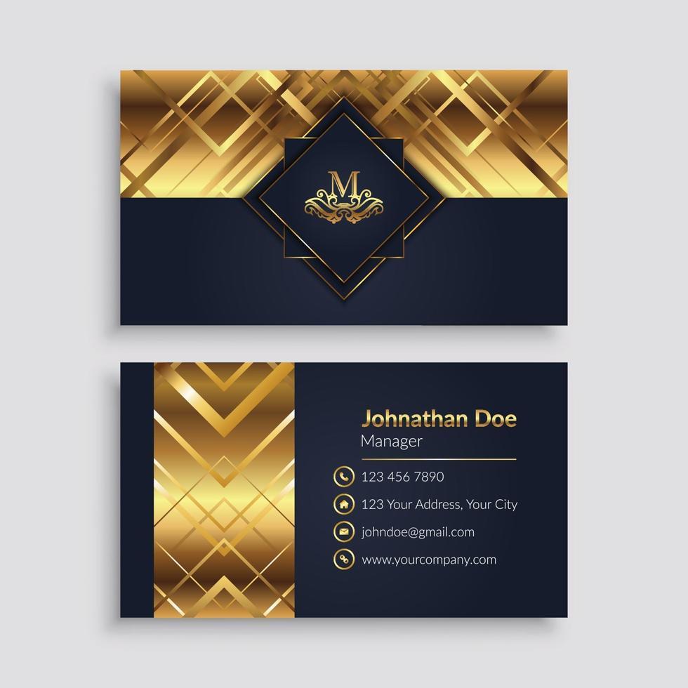 luxe gouden geometrische visitekaartjesjabloon vector