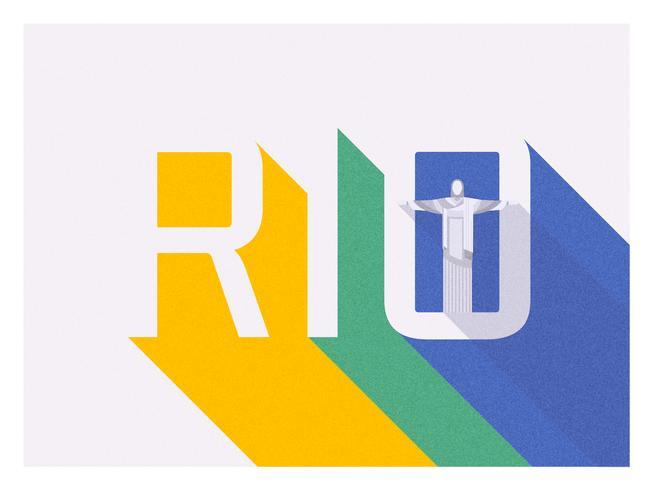 Rio lang schaduw retro typografie vector ontwerp